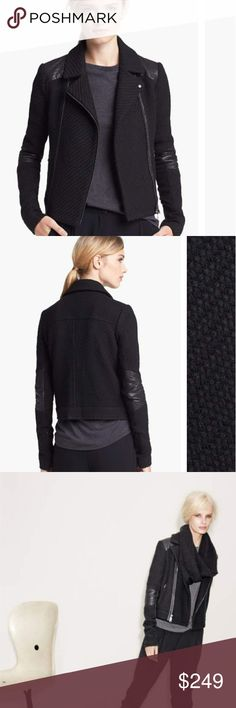 VINCE Bouclé Moto Jacket A chunky bouclé weave softens the edgy moto tone of a cropped double-breasted jacket offset by trapunto-stitched leather. Zippered cuffs and rib-knit underarm panels subtly allow for ease of movement. Vince Jackets & Coats