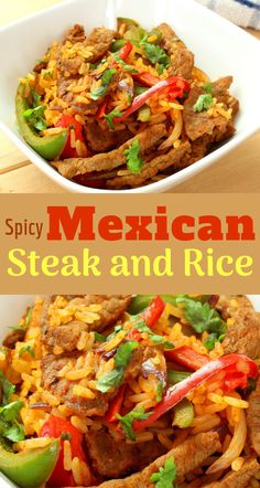 Spicy Mexican Rice with chicken is a great Mexican food idea that's high in protein, healthy, quick and easy to make and delicious. Steak Recipes, Rice Recipes, Mexican Food Recipes, Spicy Mexican Rice, High Protein Recipes, Healthy Recipes, Steak And Rice, Steak Dishes, Vegetable Puree