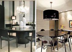 sala de jantar com mesa de laca preta