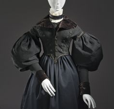 Woman's Riding Spencer Europe, circa 1835 Costumes; outerwear Wool woven, silk velvet and linen plain weave Center back length: 16 in. (40.6...