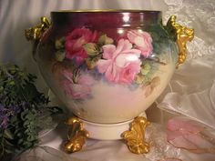 Beautiful Limoges France LION HEADS JARDINIERE with Pedestal Base ~ Antique Victorian Hand Painted French Roses ~ Bernardaud & Co, Circa 1900 - 1914