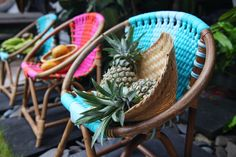 Rattan Kids chairs in tropical colors. Little chairs for little people. Kids love our colorful rattan chairs with soft t-shirt yarn seating. They're almost like sitting in a little hammock. Rattan Chairs, Love Chair, Tropical Colors, Batik Prints, T Shirt Yarn, Plush Animals, Little People, Storage Baskets, Shades Of Blue