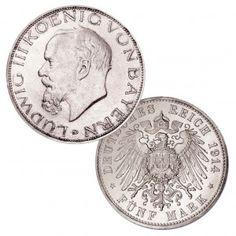 """Königreich Bayern 5 Mark 1914 """"Ludwig III."""", 900er Silber, 27,778g, Ø 38mm, Jaeger-Nr. 53"""