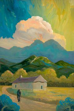 Road near the church by Ed Sandoval, 72x48, Edition: Original oil on Canvas | Studio de Colores in Taos, New Mexico