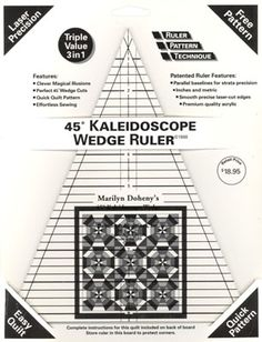 Doheny Publications - 45 Degree Kaleidoscope Wedge Ruler With Instruction Board and Patterns, $18.95 (http://dohenypublications.mybigcommerce.com/45-degree-kaleidoscope-wedge-ruler/)