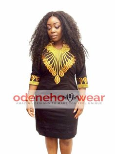 Odeneho Wear Ladies Black Polished Cotton Dress With Gold Embroidery Design. We used Polished Cotton for the dress. Nigerian Men Fashion, African Fashion Ankara, African Print Fashion, Mens Fashion, African Inspired Clothing, African Clothing For Men, African Party Dresses, African Dress, South African Traditional Dresses