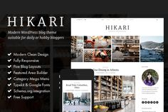 Hikari - A Responsive WordPress Blog by YouxiThemes on Creative Market