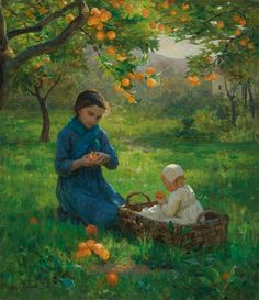 Virginie Demont-Breton (French painter) 1859 - 1935 Under the Orange Tree, s. oil on canvas 24 by 21 in. Pintura Exterior, Art Themes, Fine Art, French Artists, Mother And Child, Monet, Female Art, Art History, Oil On Canvas