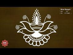 Diwali Lotus Flower Diya Rangoli | Deepavali Muggulu | Karthigai Deepam Kolam | Wow Rangoli - YouTube