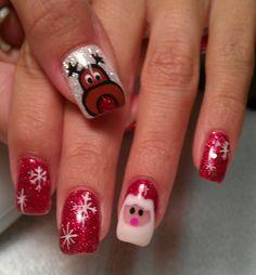 Want that raindeer in my finger so cute Christmas Nail Polish, Cute Christmas Nails, Holiday Nails, Love Nails, Fun Nails, Santa Nails, Gel Manicure Nails, Gel Nail Art Designs, Winter Nails
