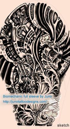 Biomechanic tattoo design (sketch) by Juno - Onsale design and stencil for $480  http://junotattooart.wordpress.com/