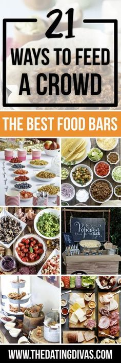 Easy Ways to Feed a Crowd - From The Best Food Bars - Great ideas for party menus! Inspiration for party planning like a Fry Bar, Popcorn Bar, Taco Bar, or Yogurt Bar! How to host the perfect party - the easy way! Party Food Bars, Snacks Für Party, Party Appetizers, Parties Food, Party Recipes, Brunch Recipes, Holiday Parties, Gourmet Appetizers, Gourmet Desserts