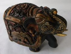 Unique & Exquisite Super Fine Hand Carved Wooden Indian Royal Elephant Sculpture Statue with Elephant Painting