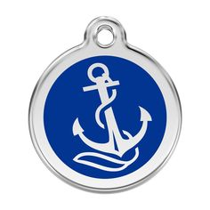 Red Dingo Stainless Steel & Enamel Anchor Dog ID Tag