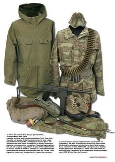 Tenue de combat d'un dragon parachutiste Ww2 Uniforms, Military Uniforms, French Armed Forces, Independence War, French Foreign Legion, French History, French Colonial, Military Camouflage, Camo Outfits