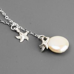 Sterling Silver Starfish Necklace Coin Pearl by MyDistinctDesigns, $34.00