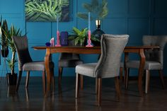 Clarendon Dark Wood Extending Dining Table with 4 Bewley Slate Chairs 2018 Interior Trends, Decor Interior Design, Interior Decorating, Extendable Dining Table, Leather Sofa, Dark Wood, Slate, Living Room Furniture, Dining Chairs