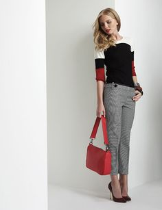color blocking and a red purse. LOVE!