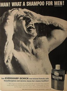 1950s men's shampoo advertisement vintage shirtless man shower suds by Christian Montone, via Flickr