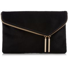 Henri Bendel Debutante Asymmetrical Haircalf Clutch (505 BRL) ❤ liked on Polyvore featuring bags, handbags, clutches, purses, bolsas, black, henri bendel handbags, heart purse, haircalf handbags and chain purse