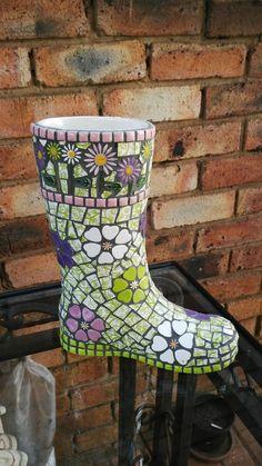 mosaic boot flower pot