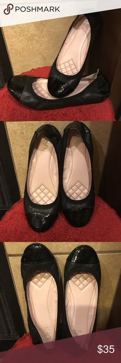 Vince Camuto Black flats with Patton leather Vince camuto flats, black leather and Patton leather, cushiony footbed,  only worn around house trying to get used to them but I cant wear flats due to my plantar faciaitis... bought at Nordstrom Vince Camuto Shoes Flats & Loafers