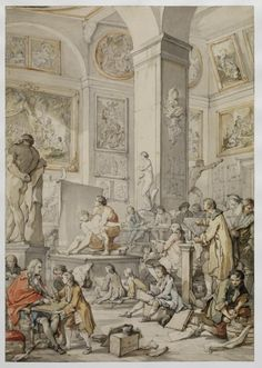 """""""The Life Class at the Royal Academy of Painting and Sculpture"""", 1746. Charles-Joseph Natoire (French, 1700-1777). Pen, black and brown ink, gray wash and watercolor, and traces of graphite, over black chalk. The Frick Collection."""