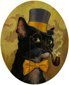 Illustration by Boris Pelcer on Steampunk Tendencies FB Cool Cats, I Love Cats, Crazy Cats, Chat Steampunk, Tierischer Humor, Steampunk Animals, Black Cat Art, Black Cats, Fancy Cats