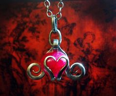 Red Crackle Quartz Heart Fork Pendant by Metalmorfisis on Etsy, $40.00