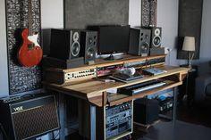 Large Modern Wood Recording Studio Desk for Composer / by Monkwood