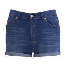 Cheap Monday Women's 'Short Skin' High-Waist Denim Shorts - Sonic (115 PEN) ❤ liked on Polyvore featuring shorts, bottoms, pants, short, blue, short jean shorts, denim shorts, high rise jean shorts, cut off jean shorts and high-waisted denim shorts