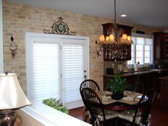 love the faux brick! - table wall in kitchen??