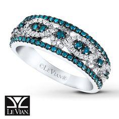 LeVian Diamond Ring 3/4 ct tw Blue/White 14K Vanilla Gold