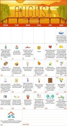 Smell a Day: Your August Calendar for a Fragrant Home (Printable! August Calendar, Holiday Calendar, Fee Du Logis, Cleaning Calendar, August Month, September, Summer Fun, Summer Time, National Days