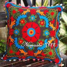 16'' Indian 100% Cotton Suzani Art Floral Design Embroidery Pillow Cushion Cover #NamasteArt #ArtDecoStyle