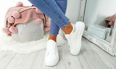 Platform Contrast Heel Trainers Lace Up Trainers, Leather And Lace, Party Wear, Contrast, Platform, Stylish, Casual, Women, Fashion