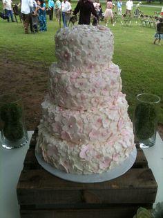 Pink & White Wedding Cake