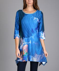 Take a look at this Blue Streak Abstract Sidetail Tunic - Plus Too today!