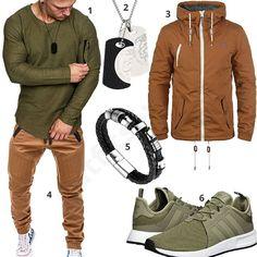 Outfit mit olivgrünem Amaci&Sons Longsleeve, Halukakah Armband, Diesel Anhänger, beiger Hose von Betterstylz, Solid Übergangsjacke und Adidas Sneakern.