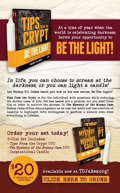 Are you in need of a Word from God for the dark time you're going through? Look no further than Bishop T.D. Jakes' new 'Be The Light' series! Available now! https://store.tdjakes.org/p-2838-be-the-light-offer.aspx