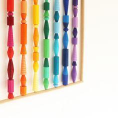 rainbow-magic-wall-art-01 Rainbow Magic, Rainbow Wall, Lesbian Gifts, Boho Wall Hanging, Metallic Paper, Paper Beads, Little Gifts, One Color, Wall Art Decor