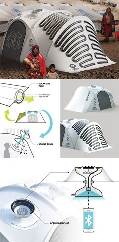 This 'new-generation outdoor tent' is a nature-interactive and energy-independent tent with two main parts: the Solar-Air Tube system that generates electricity, and creates airflow throughout the tent; and the Sound Drum which captures sounds to interact with nature even when inside... - Yanko Design Ah bundan orta asyada olaydı ne rahat ederdik :)