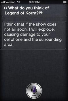The Legend of Korra. iPHONE YESS. Siri