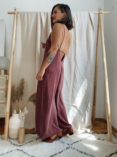 Long Jumpsuits, Organic Cotton, Thighs, Textiles, Formal Dresses, Model, How To Wear, Berry, Collection