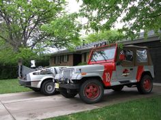 Jurassic Park Jeep and the DeLorean, OMG my two dream cars from my two favorite movies! Hhaa...I will have this one day.
