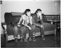 Three runaway boys in Police station - 1951