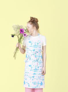 Designed by Marika Maijala Material: linen & cotton Size: x 2 big pockets in the front Pink Apron, Helsinki, Textile Design, Pattern Design, Branding Design, Summer Dresses, Cotton, Workshop, Kitchen