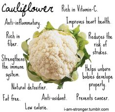 An awesome vegetable to include in your diet.  I like to steam cauliflower florets and then puree into a cauliflower mash.  Great lower carb alternative to traditional mashed potatoes!