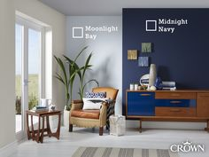 Bring the coast, home! Combine Moonlight Bay and Midnight Navy for a calming coastal aesthetic. Navy Bedrooms, Navy Living Rooms, Coastal Living Rooms, Living Room Paint, New Living Room, Living Room Decor, Blue Bedroom, Bedroom Images, Front Rooms