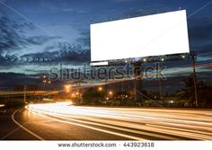 billboard blank for outdoor advertising poster or blank billboard at night time for advertisement. street light - stock photo